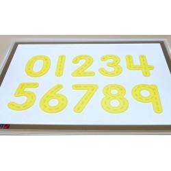 Números silicona amarillos