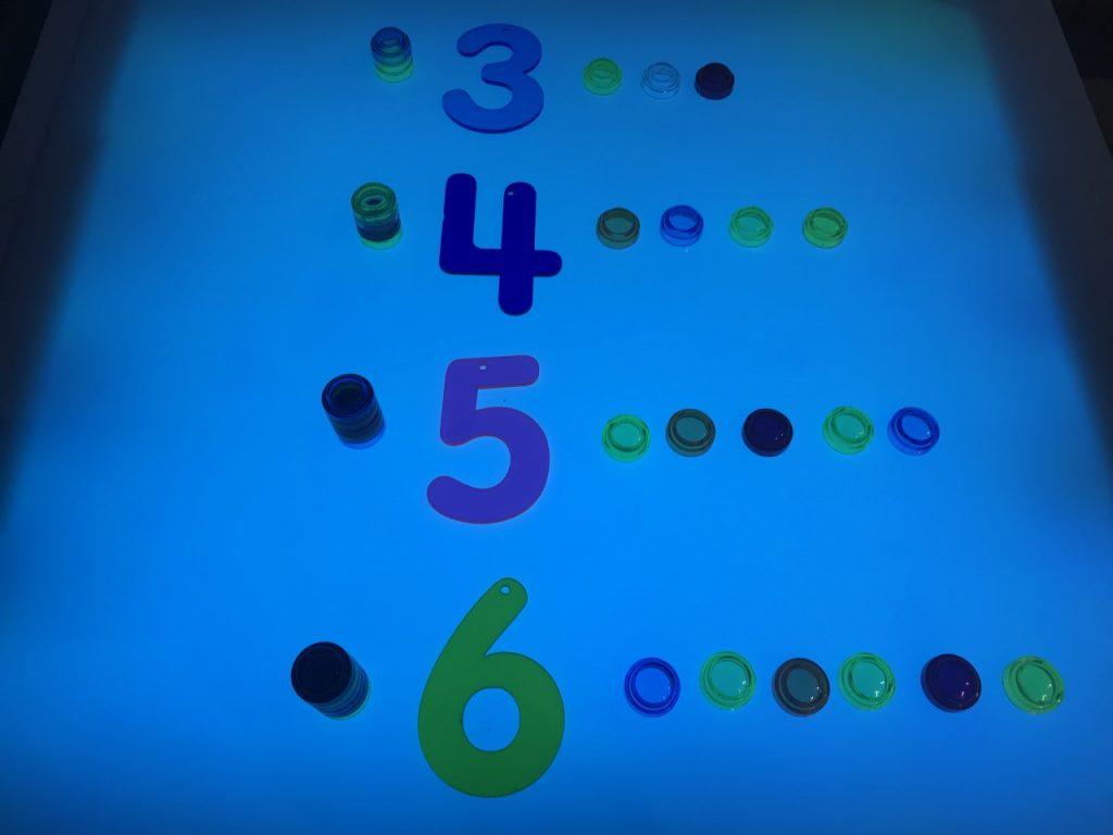 Asociar número con cantidad de manera horizontal y vertical